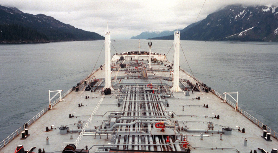 The ocean washes over the deck of the fully loaded Arco Anchorage during a moderate storm with 16-foot seas as it makes its way south through the Gulf of Alaska to Puget Sound.